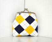 Coin Purse Kiss Lock Framed Blue Yellow Argyle