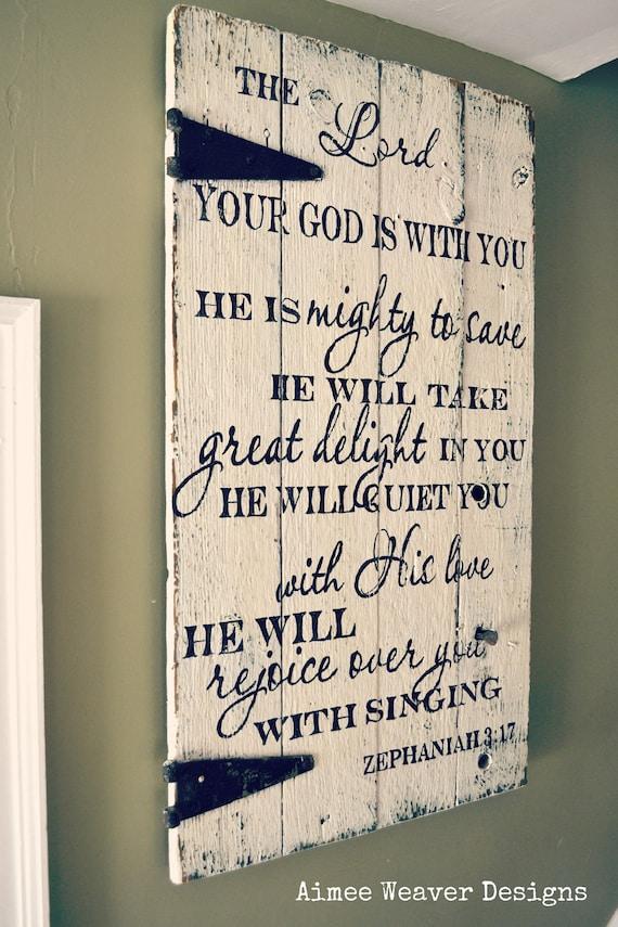 Handpainted Wood Barn Door With Zephaniah Verse