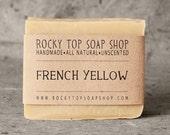 French Yellow Clay Soap - All Natural Soap, Handmade Soap, Fragrance Free Soap, Vegan Soap, Sensitive Skin Soap