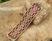 Olive Green and Dark Red Crocheted Celtic Braid Cuff Bracelet