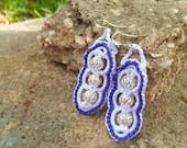 White and Purple Beaded Crocheted Hypoallergenic Dangle Earrings