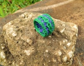 Kerry Green and Purple Cabled Crocheted Ring
