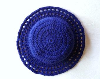 Blue Crochet Sunroof Sun Hat