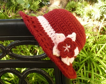 Scarlet Crocheted Sunroof Sun Hat