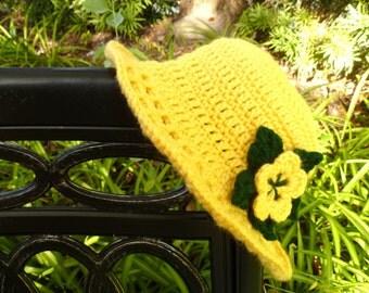 Yellow Crocheted Sunroof Sun Hat