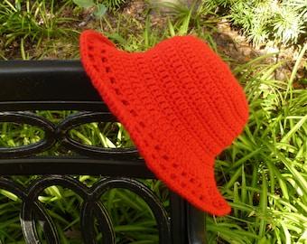 Crimson Crocheted Sunroof Sun Hat