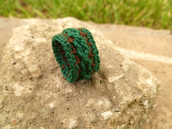 Green and Brown Autumn Inspried Crocheted Ring