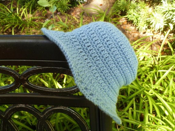 Light Blue Crocheted Sunroof Sun Hat