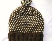 Brown and White Knit Hat