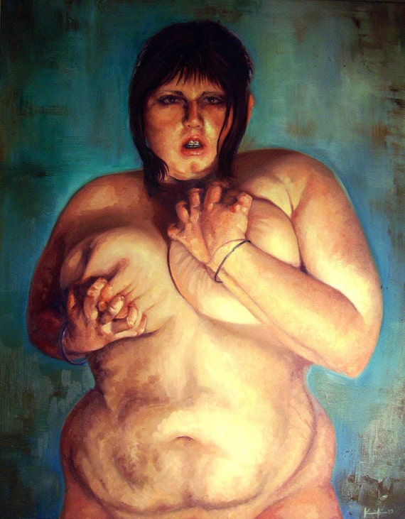 "Clench - 24""x30"" Oil Painting - Nude Self Portrait"