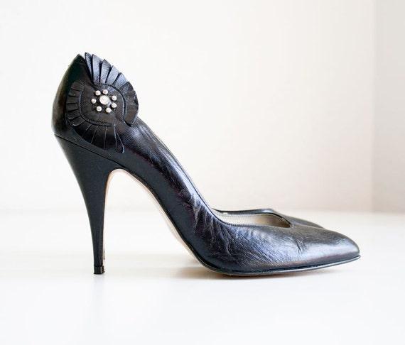 Vintage Black Spanish Leather Heels