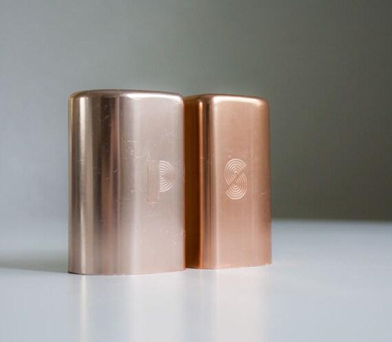 Mid Century Deco Copper Salt & Pepper Shakers
