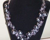 Silver and Black Crochet Wire Necklace