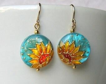 Sunflower Earrings Sunflower Jewelry Flower Earrings Flower jewelry Summer Earrings Floral Earrings Sunflower Wedding Turquoise Jewelry