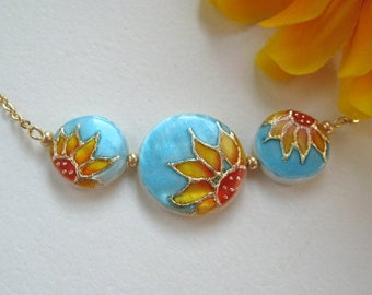 Sunflower Necklace handpainted, Sunflower pendant, turquoise jewelry, ciber monday sale, rustic wedding jewelry, sunflower jewelry