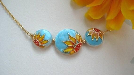 Sunflower Necklace handpainted, Sunflower pendant, turquoise jewelry, ciber monday sale, rustic wedding jewelry, sunflower jewelry