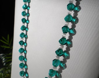 Green Crystal & White Cateye Beaded Necklace