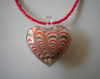 Red Heart Glass Pendant Necklace