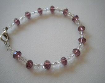Purple & Clear Crystal Bracelet - Small Wrists