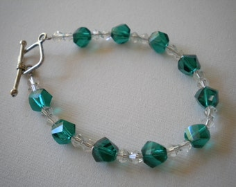 Green & Clear Crystal Bracelet - Small Wrists