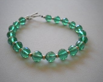 Green Crystal Bracelet - Large Wrists