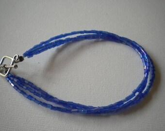 Purple Seed Bead Bracelet - Large Wrists