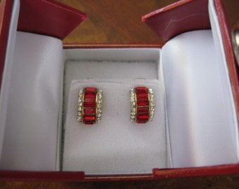 RED red and RED with Rhinestones for your Ears - half hoops - M -