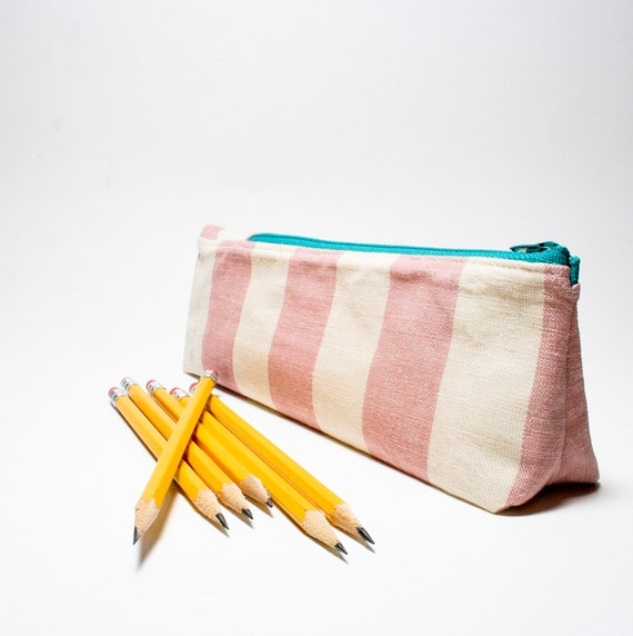 Sweetness - the wedged pencil pouch in pink, teal, stripes, striped