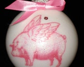 PINK COLLECTION - A Flying Pig Breast Cancer Awareness ornament with Swarovski cyrstal - 50% will donated to Susan G. Komen Foundation