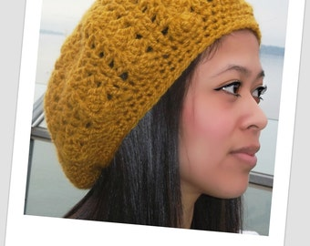 Crochet Chunky Mustard Slouch Style Beanie  Hat, Crochet Women's Hat, Mustard Slouch, Slouchy Beret, Ladies Slouch Hat, Mustard Hat