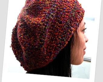 Deep Jewel Toned Crochet Slouch Beanie-Red, Yellow, Green, Blue, Purple