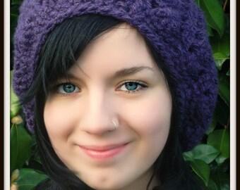Chunky Purple Crochet Slouch Hat
