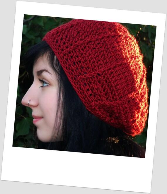 Radiating Stripes Crimson Crochet Slouch Hat