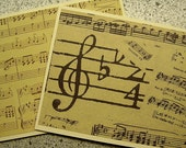 Music-Themed Blank Notecards - Set of 6 - Cream