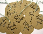 Brown Kraft Thank You Tags - 2 Inch - Set of 12