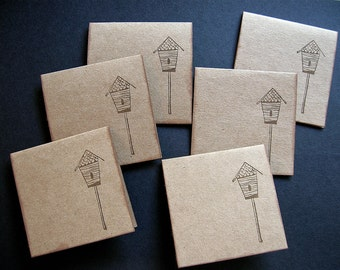 Birdhouse Mini Notecards - Brown Kraft Cardstock - Thank You, Gift Tag - Set of 6
