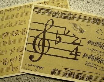 Music-Themed Blank Notecards - Set of 6 - Cream