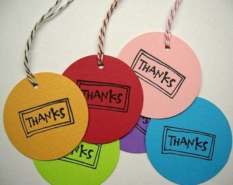 Assorted 2-inch Round Thank You Tags - Set of 50