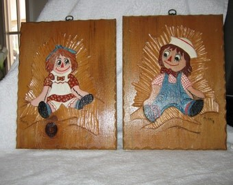 Relief Art/Wooden Raggedy Ann and Andy Wooden Plaques/ Mid Century Carved Wood/ c.1960 By Gatormom13 JUST REDUCED