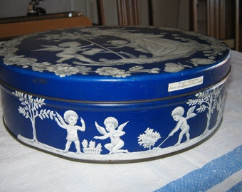 Wedgwood Pattern/ Metal Tin/ Vintage Tin/Storage Container/ Made in England/ By Gatormom13 JUST REDUCED