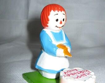 Raggedy Ann Die Cast Metal Birthday Cake c.1977Metal Die Cast Raggedy Ann Figurine/ by Gatormom13  JUST REDUCED