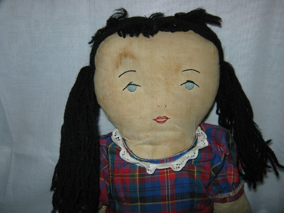 Cloth Doll embroidered features Edith Flack Hackney type c.1940 By Gatormom13