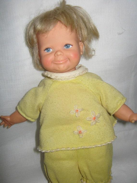 Vintage Doll Vinyl Newborn Thumbelina Working C 1960 Original