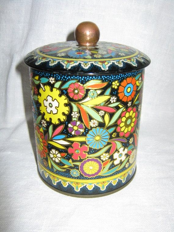 Vintage Metal Tin Made in England Floral By Gatormom13