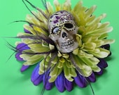 Sugar Skull Hair Clip - Day of the Dead Purple and Lime Green Flowers