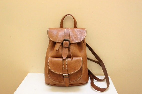 Vintage Tan Color Genuine Leather Small Backpack for Junior Girl or Boy