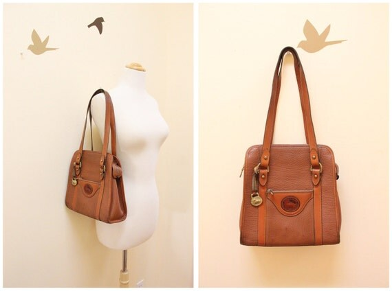 Dooney and Bourke Tan Color Pebble Leather and Tan Color Leather Trim Shoulder Bag with Two Straps