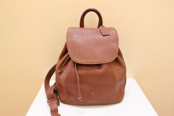 Vintage Coach Tan Color Pebble Leather Backpack // Made in Italy