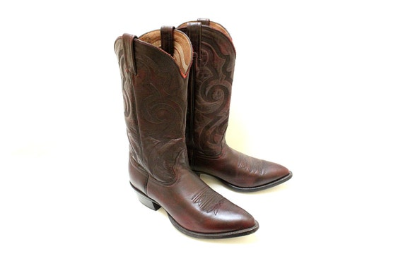 Vintage Western Boots Black Cherry Brushed Off  For Man By Nocona Boots / Size 8 1/2 D / Made in USA