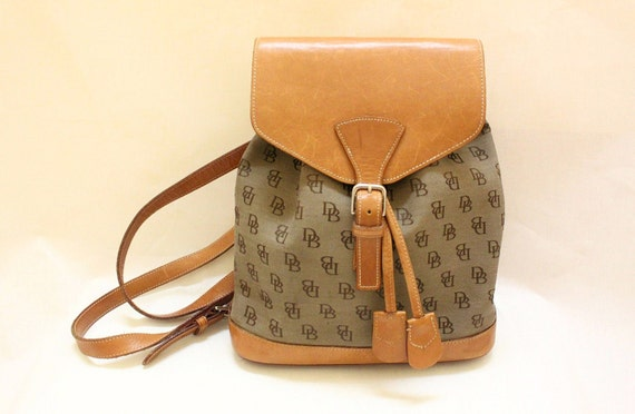 Vintage Dooney and Bourke Canvas & Tan Leather Trim Backpack